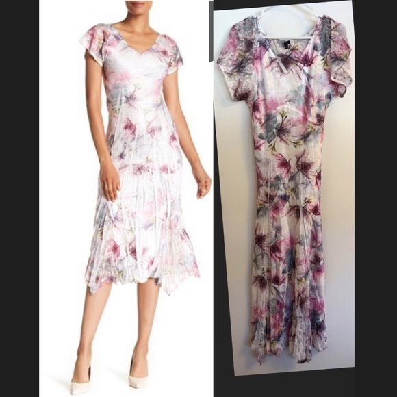 18ec6a6de7 Komarov Dresses   Skirts - Komarov V-neck Flutter Sleeve Print Midi Dress